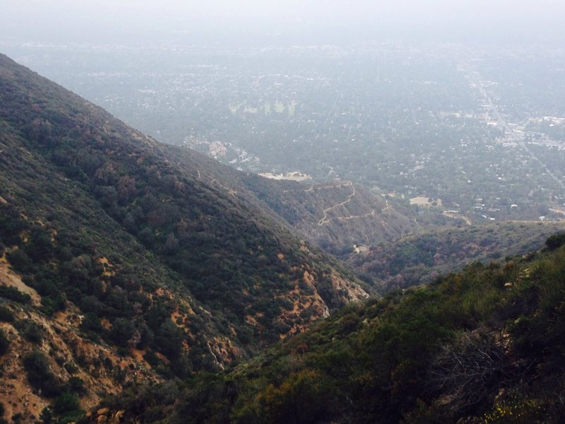 Beautiful views down on the Sam Merrill trail and downtown Pasadena.