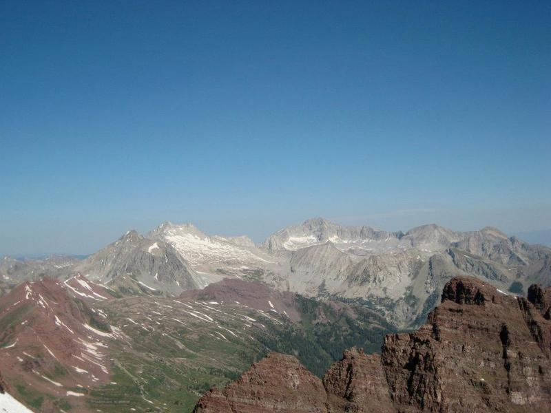 The views from the summit are incredible. To the left is 14er Snowmass Mountain, with Capitol Peak to its right.