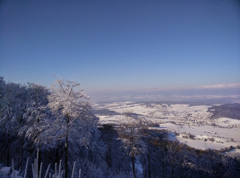 The view down on a snowy and sunny day