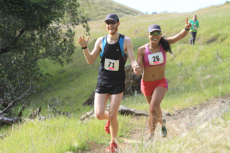 These runners are just about to cross the finish line at Madrone Grove in Mt. Tam State Park.