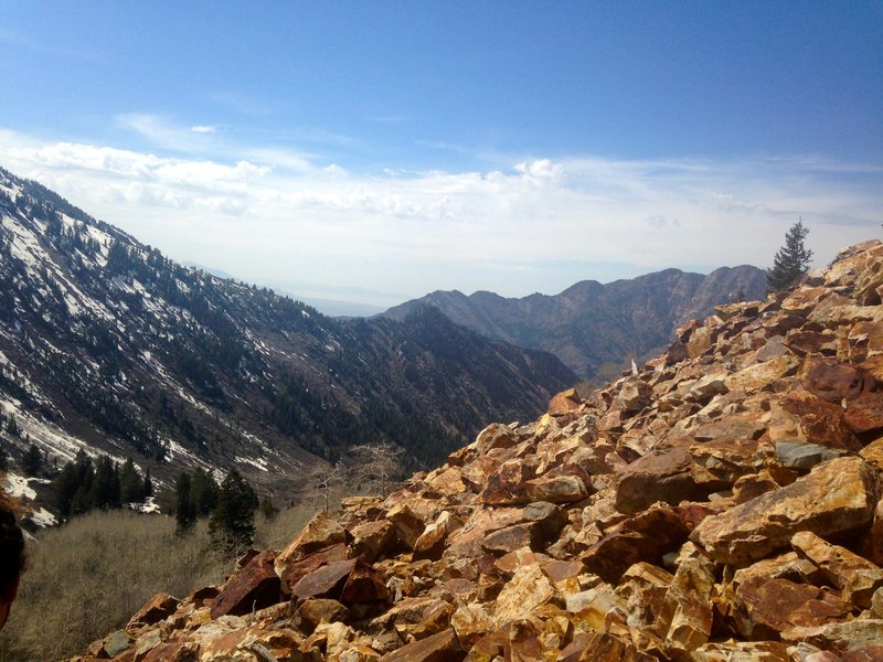 View of the boulder field from the Lake Blanche Trail