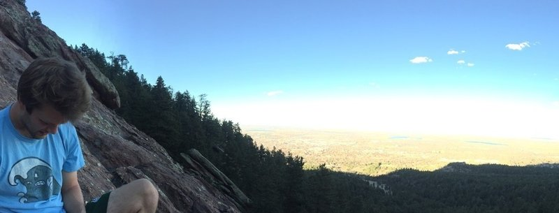 An eastward panorama while taking a rest on the steep trail