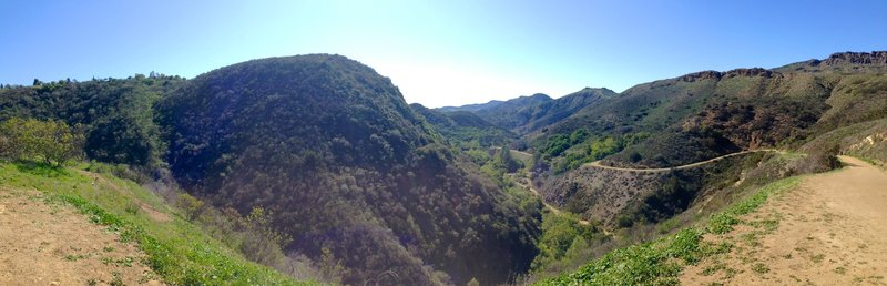 A look into the canyon as you climb out of it on the wide dirt road.