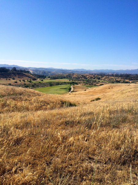 A view of the Rustic Canyon Golf Course from the early part of the trail