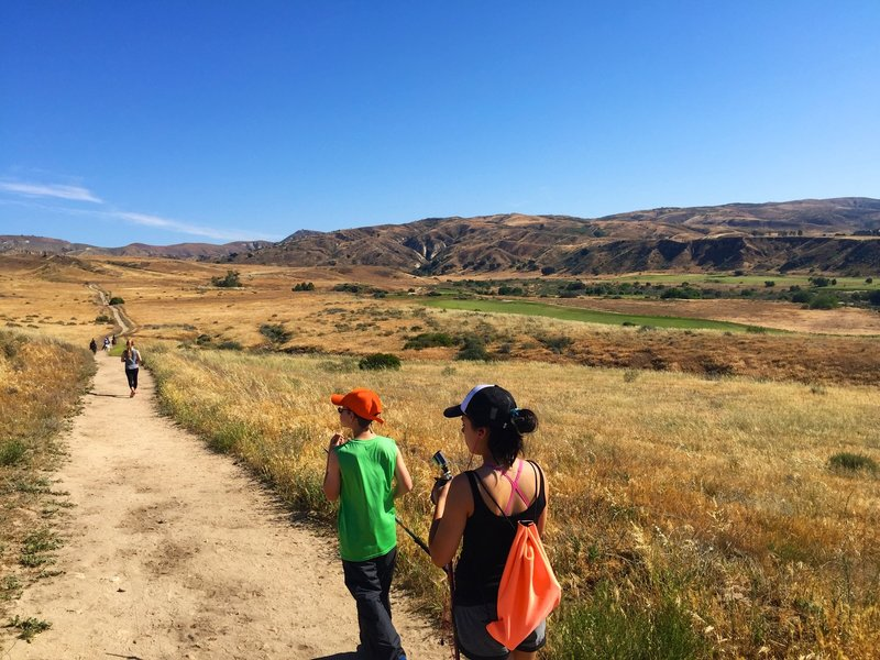 The first part of the hike that takes you along Rustic Canyon Golf Course.