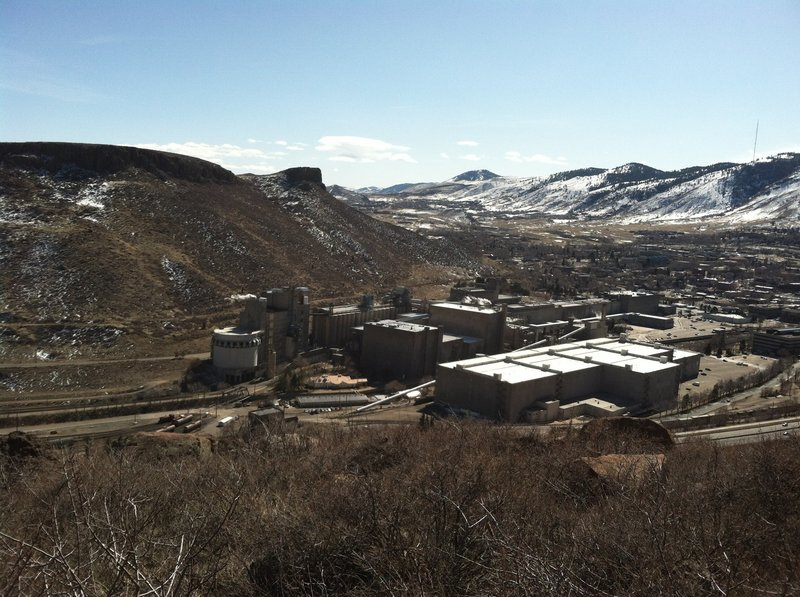 View of Coors Brewery and the town of Golden from the base of the North Table Cliff