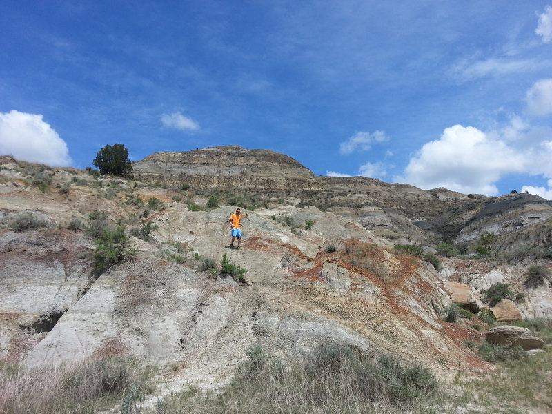 Looking uphill at the descent through the badlands.