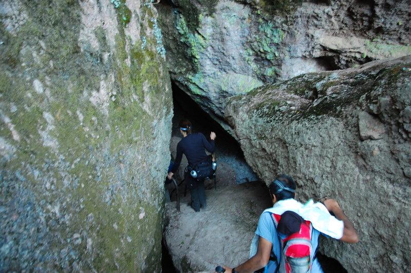 Exploring a sweet cave on Juniper Canyon.