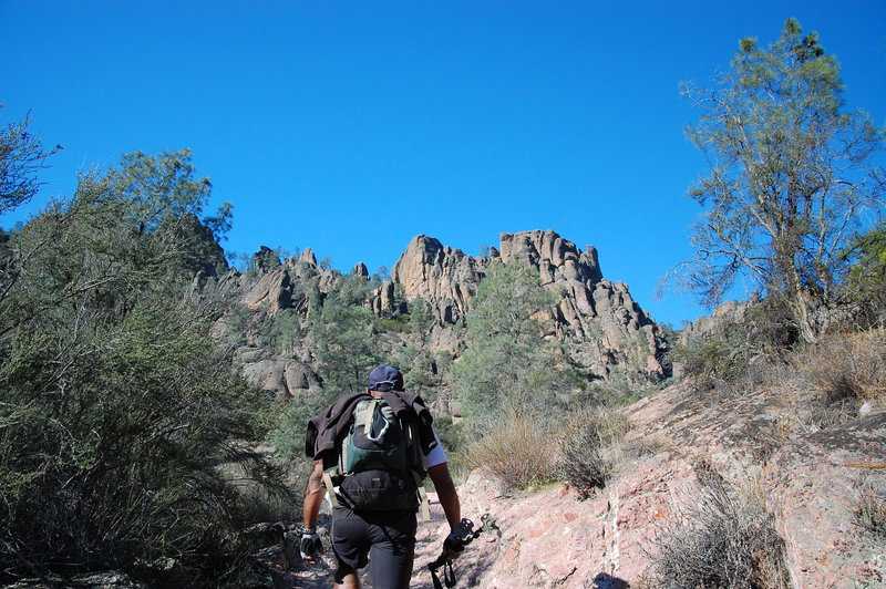Heading up Bench Trail.