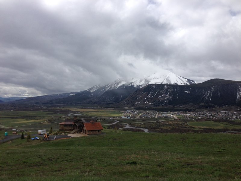 The view of the town of Crested Butte from the Lupine Trail