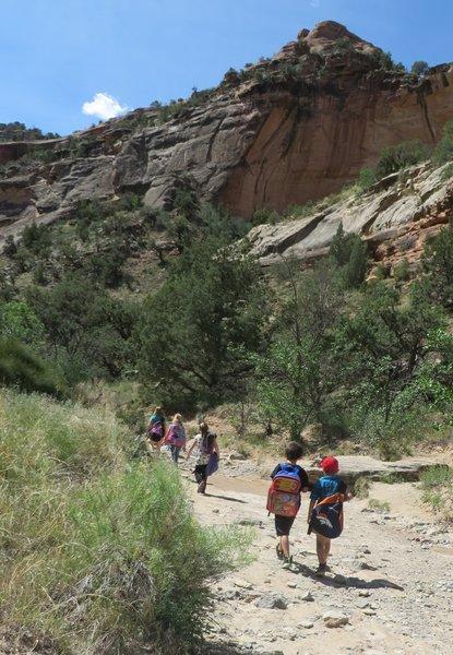 A 3rd grade class enjoys a spring field trip into Echo Canyon