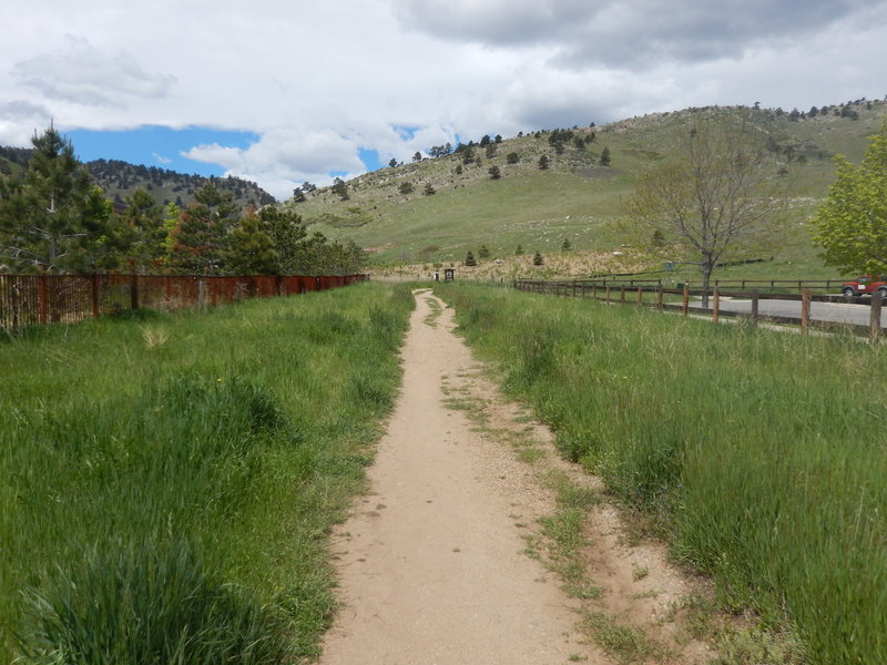This section of the Foothills North Trail runs between two fencelines