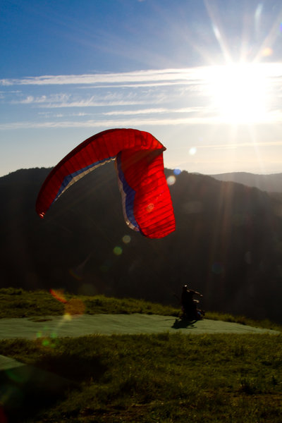 Paraglider trying to take off