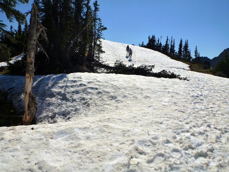 Crossing snowfields on the Klahhane Ridge - by Rick McCharles