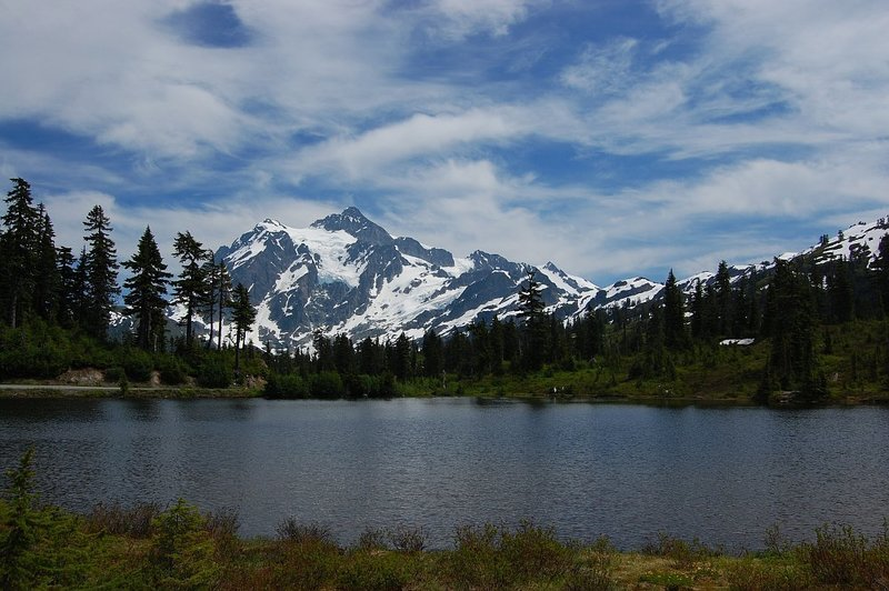 Mt. Shuksan behind the Mt. Baker Lodge Lakes.