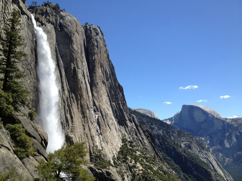 Yosemite Falls with Half Dome in the background.