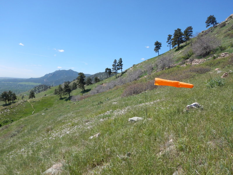 Windsocks indicate one of the glider launching areas