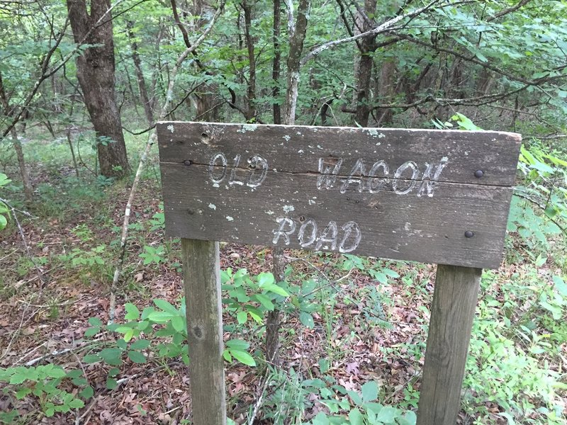 Old wooden sign for the Wagon Road
