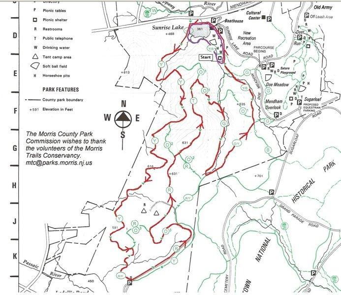 Map of NJ Trail Series Winter Series 10K or Half marathon (2 x 10K loop)