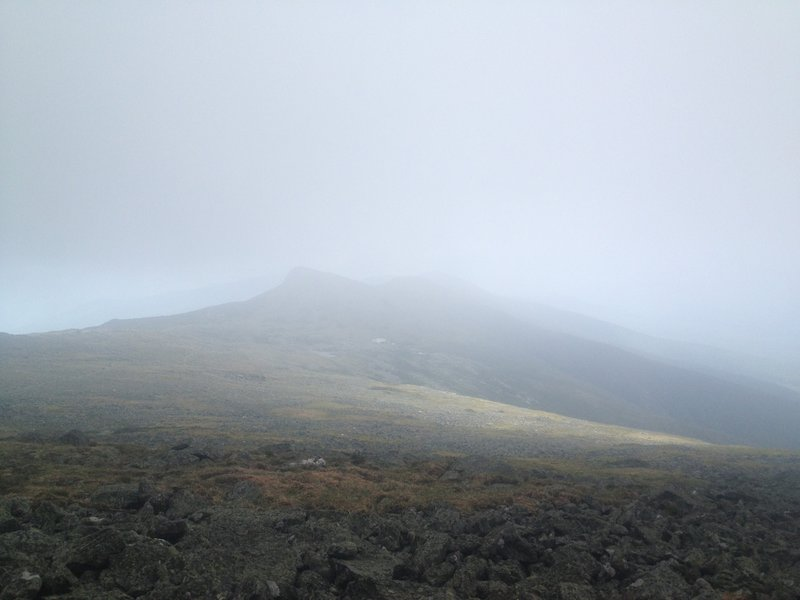 Descending from Mt. Washington summit, looking south towards Lakes of the Clouds Hut.