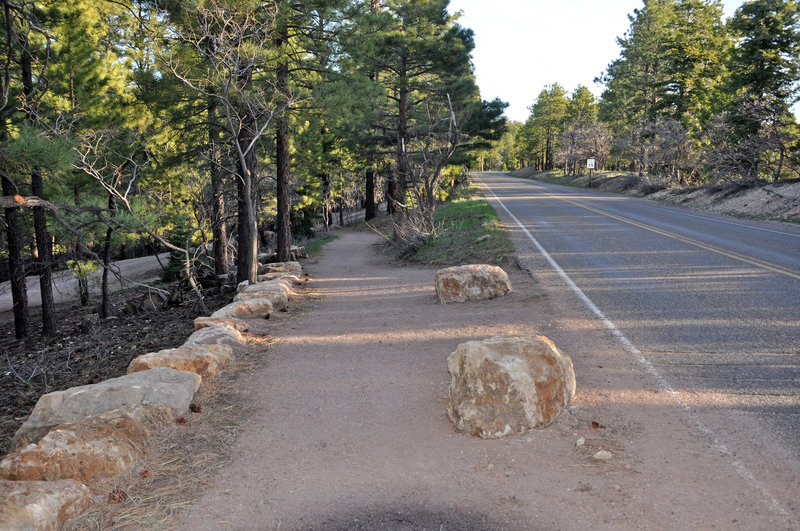North Rim Bridle Path is leaving the road and continuing north from the Grand Canyon Lodge (photo by NPS)