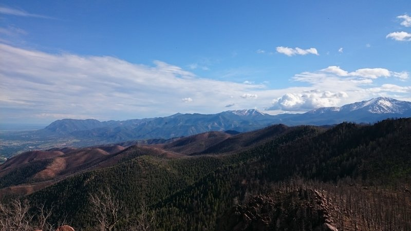 View of Colorado Springs and Pikes Peak.