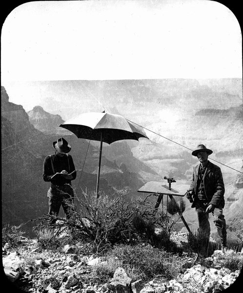 Francois Matthes' topgraphical crew mapping the Grand Canyon. (NPS photo)
