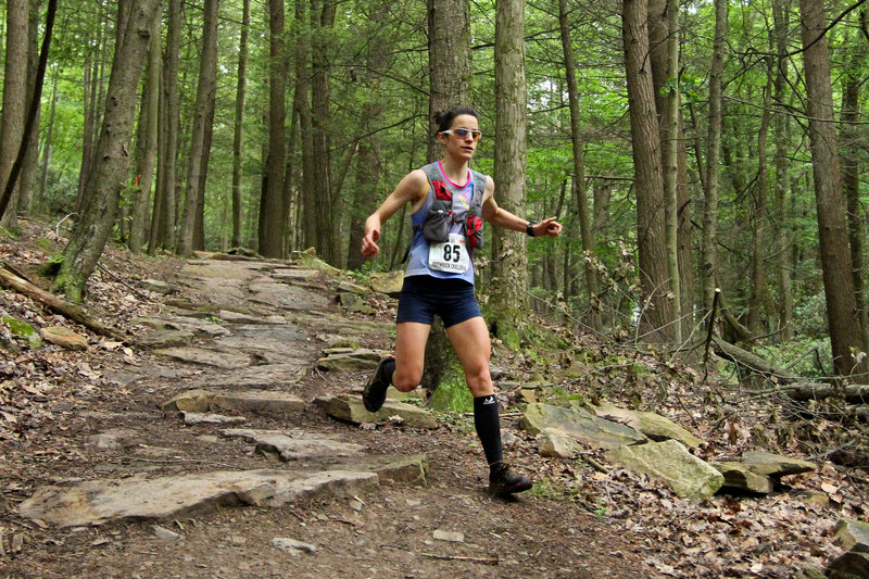 Bombing over the rocks at during the Rothrock Trail Race