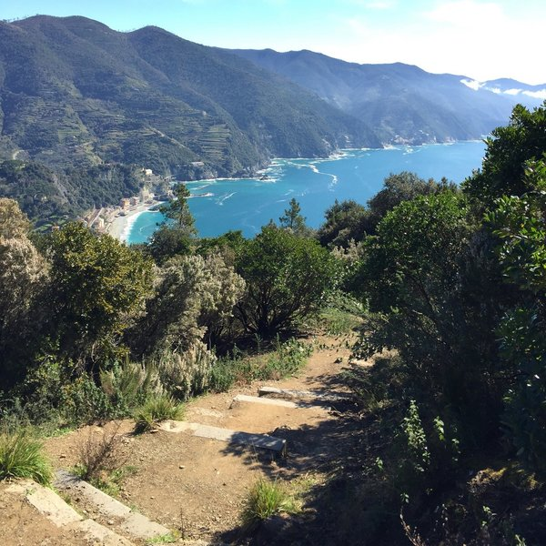 View of the Cinque Terre coastline from the ascent up Punta Mesco
