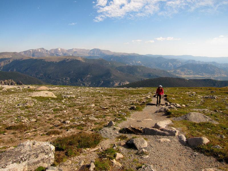 Hiker on Rocky Mountain National Park Flattop Mountain trail