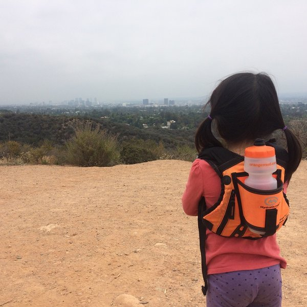 Admiring the view at the inspiration point at Will Rogers State Park.