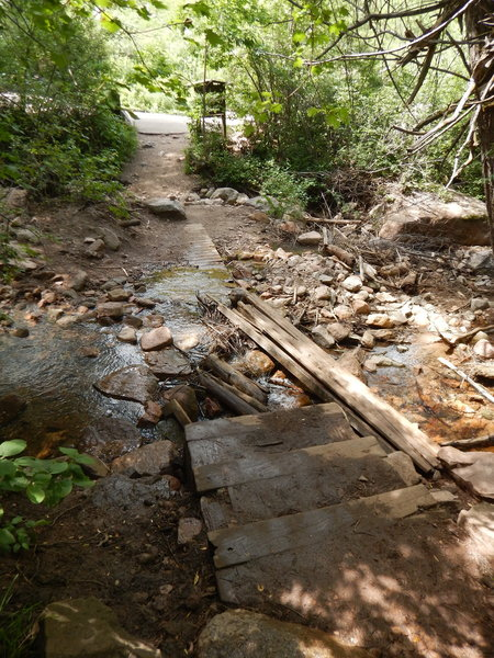 As of 2015, the stream crossing is still washed out from the 2013 flood.