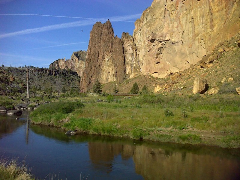 View of the river and red Rhyolite intrusion.