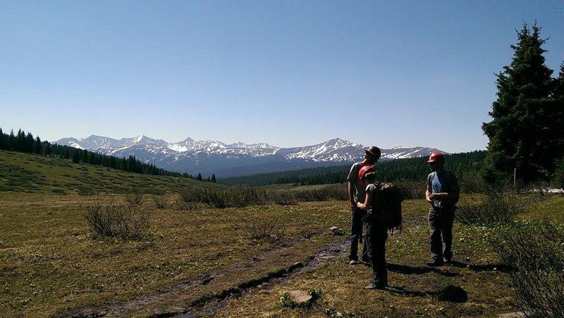 Some park personnel assessing the trail conditions