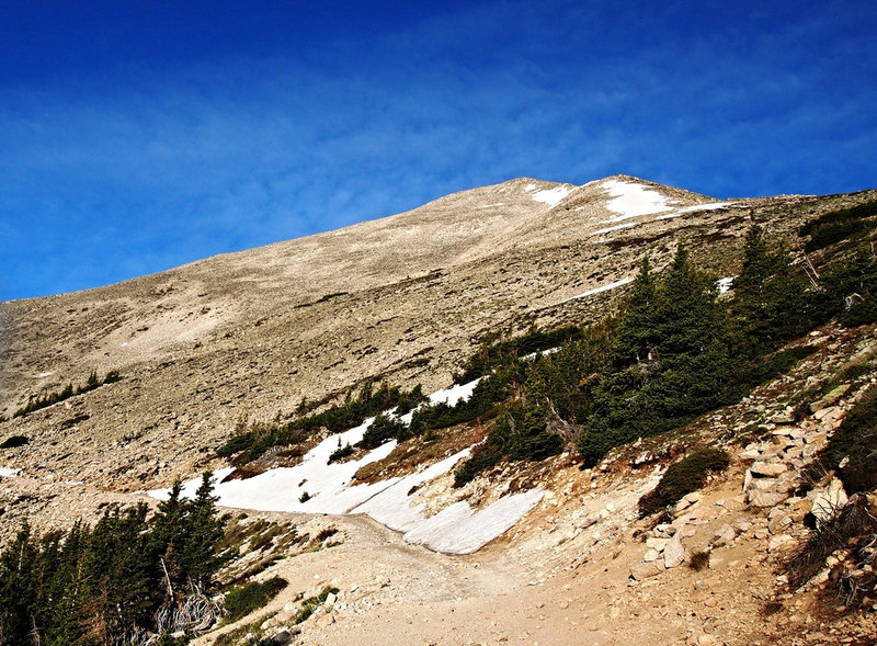 The turnoff for Mt. Princeton can be seen to the right, with the Jeep road continuing to the left. 13er Tigger Peak is dead ahead. The route goes below and to the right of this mountain.
