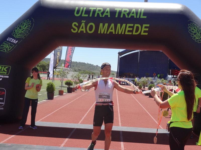 Crossing the finish line of the  Ultra Trail de São Mamede Race