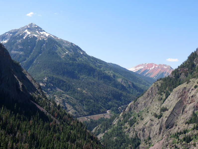 A million dollar view of the Million Dollar Highway. That is Red Mountain in the distance.