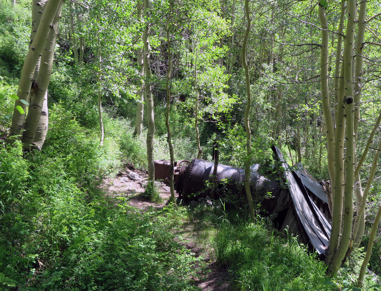 In a nice grove of aspen you'll find remains from the Grizzly Bear gold and silver Mine. Look across the canyon for the mine tailings.