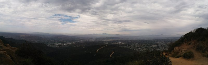 Looking North East from the top of Cowles Mountain. The trail that can be seen is the service road.
