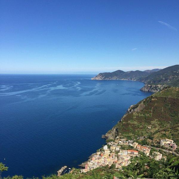 View of the Cinque Terre coastline from theSanctuary of Montenero