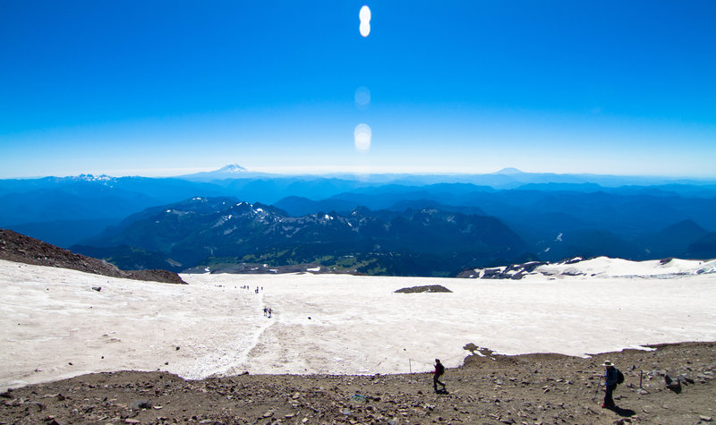The view from Camp Muir back down the mountain.