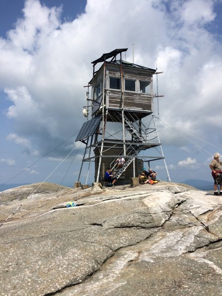 Summit of Mt. Cardigan with fire tower (photo looking NW).