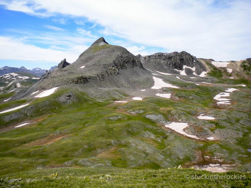 Looking across Stony Pass towards Green Mountain, from near Buffalo Boy Ridge.