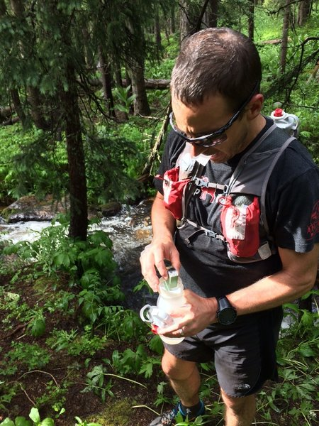 Refilling early on the 40 miles across the Pecos Wilderness.
