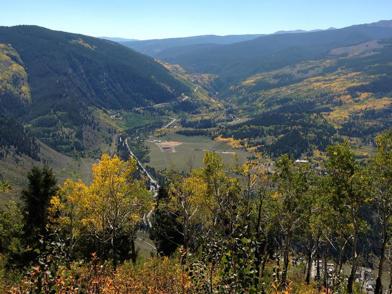 Highway 24 and the Minturn valley far below.