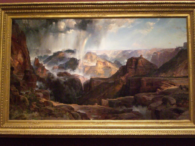 "The famous Thomas Moran painting ""Chasm of the Colorado"" that was painted in 1873 as a compilation of many views including from Dutton Point.  Does it match what you can see from here?  (photo by Andrew Kuchling)"