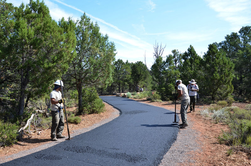Constructing the paved part of the Tusayan Greenway Trail