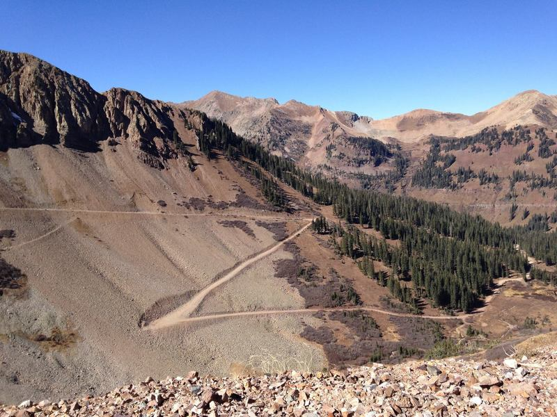Looking back at the climb from Columbus Mine.