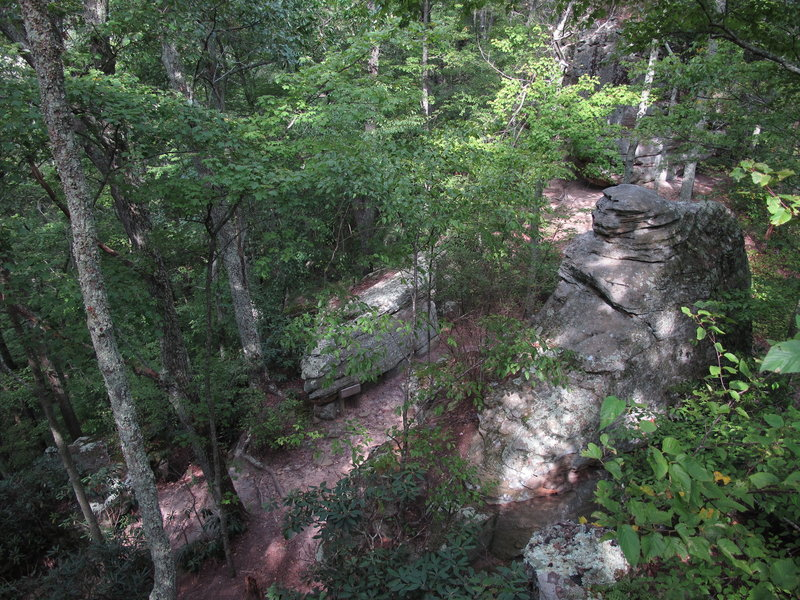 Looking down on the trail