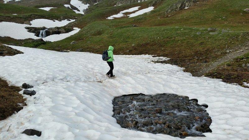 Snow bridges on Handies Peak trail